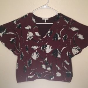 Maurices Asymmetrical Button Floral Top NWOT